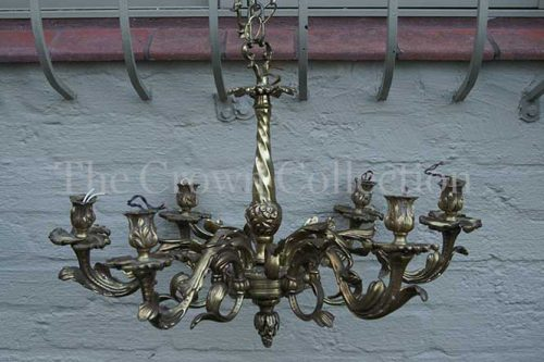 French Gilt 5 Arm Chandelier with Flowers & Leaves