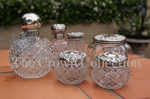 Set of 6 Silver Mounted Cut Glass Pots & Perfume Bottles
