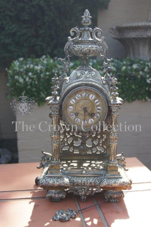 19th Century Cast Brass French Clock