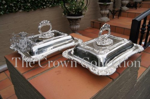 Pair Victorian Sheffield Plated Entrée Dishes circa 1860