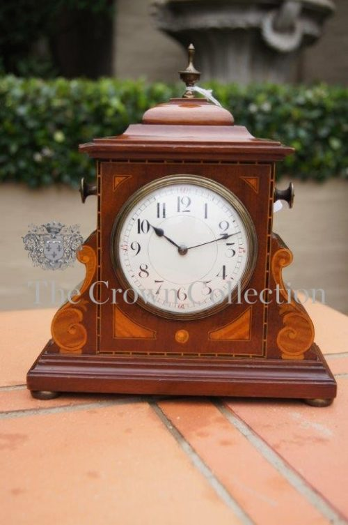 Edwardian Mahogany Inlaid Mantle Clock