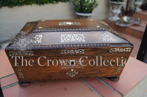 Victorian Rosewood with Mother of Pearl Detail Sewing Box (1 handle broken)