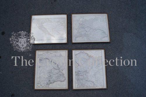 Set of 4 Framed Vintage Maps