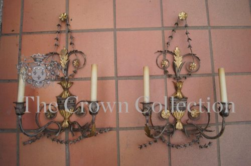 Pair Early 20th Century Wrought Iron & Parcel Gilt Wall Lights / Sconces