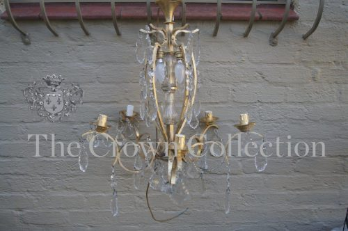 Gilt & Glass 5 Arm Chandelier