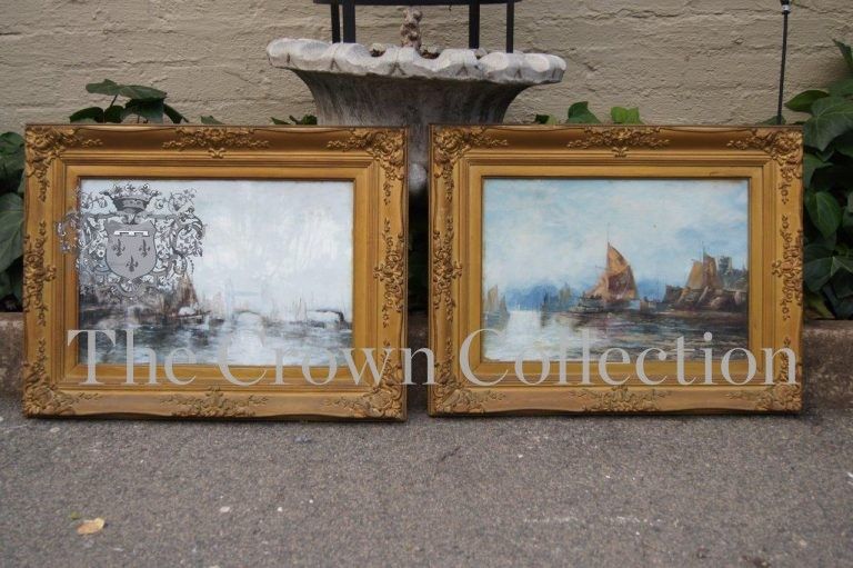 Pair Continental Shipping Watercolours Framed