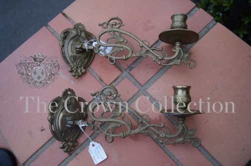 Pair Brass Wall Sconces