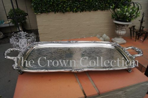 Antique Pilgrim Silver Plated Tray