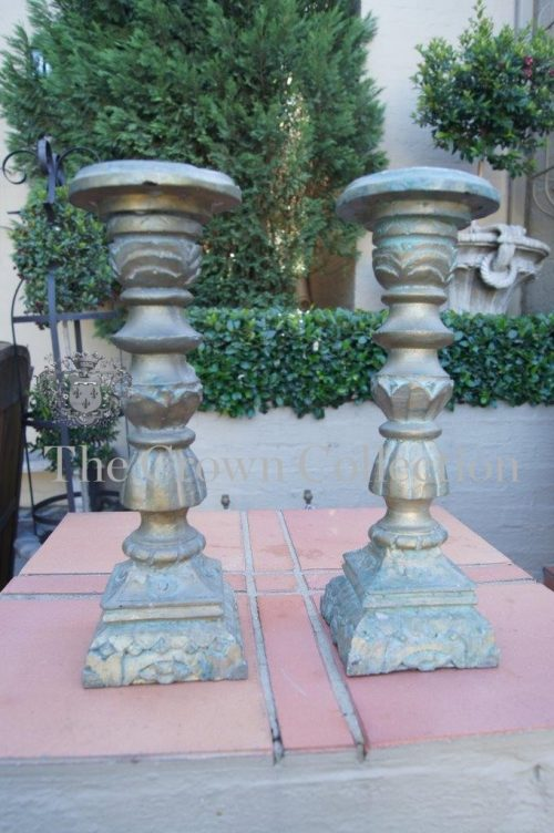 Pair of Distressed Resin Pillar Candlesticks