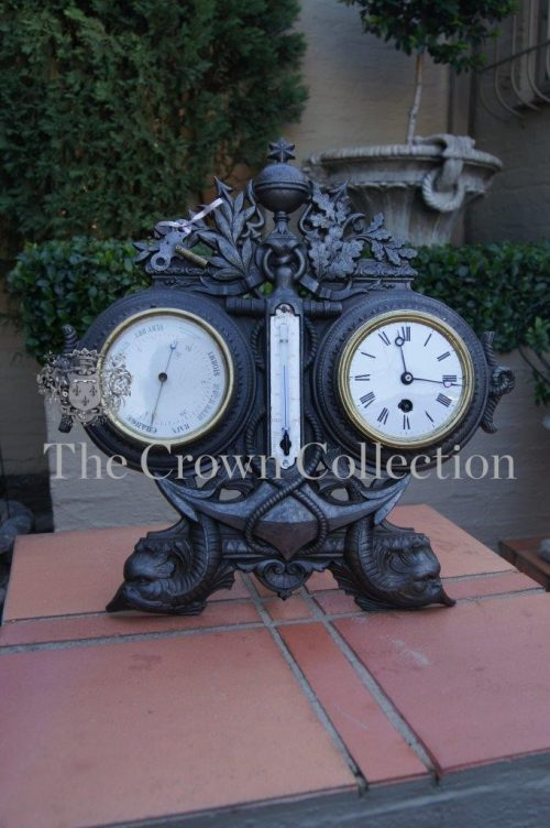 Antique French Cast Iron Clock & Barometer
