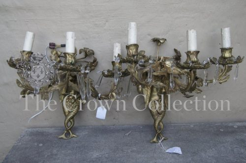 Pair Brass Wall Sconces 3 Arms with Mythical Creature