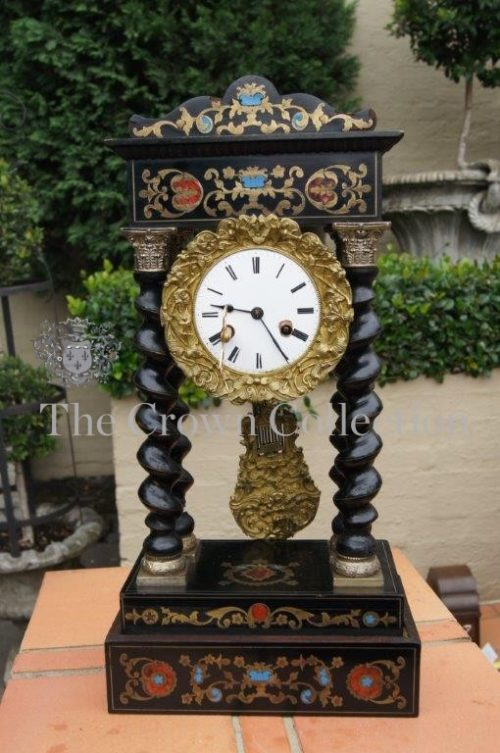 Napoleon III French Ebonised Portico Mantle Clock - circa 1860