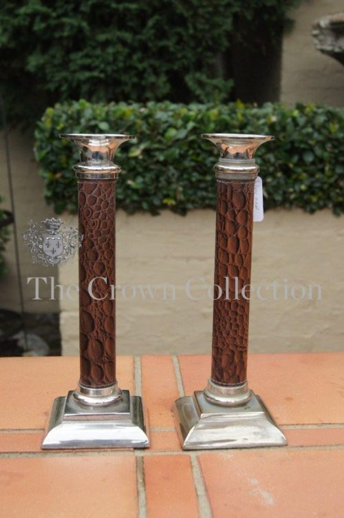 Pair Silver Plated & Leather Candlesticks