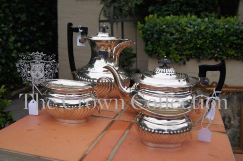 4 Piece EPNS Fluted Tea Set