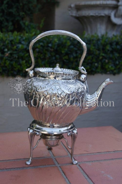 Victorian Silver Plated Chafe Tea Kettle on Stand