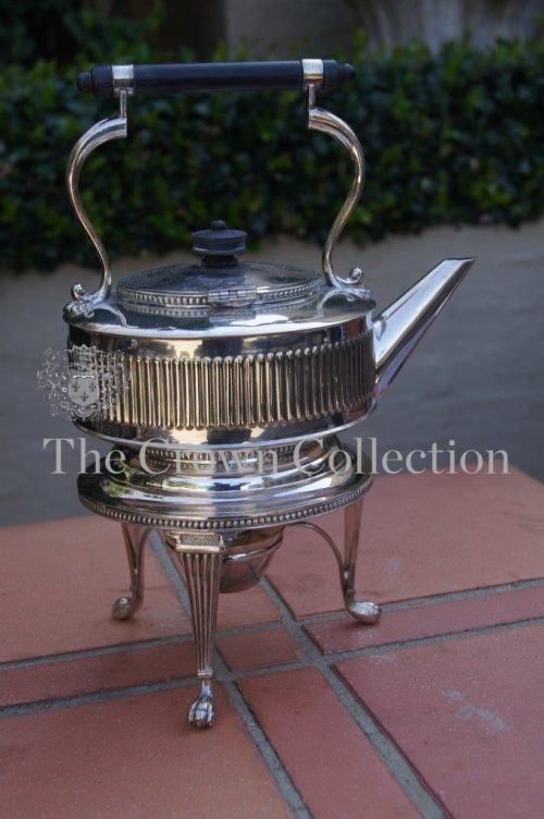 Edwardian Silver Plated Tea Kettle on Stand