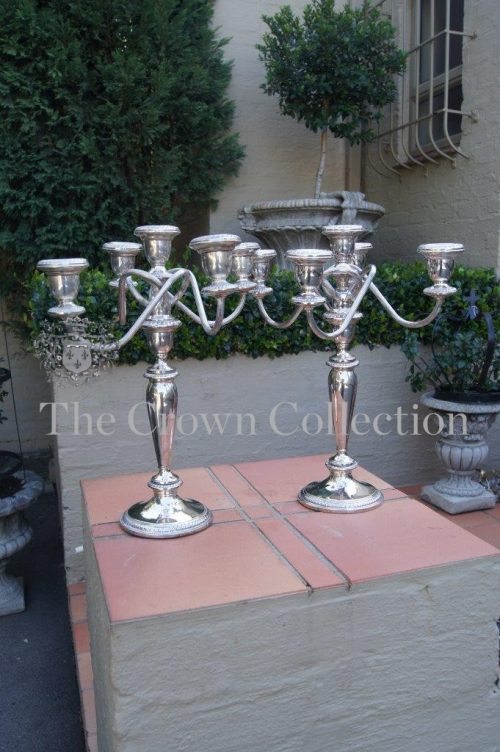 Pair Stamped Matching Sterling Silver 5 Arm Poole Candelabra