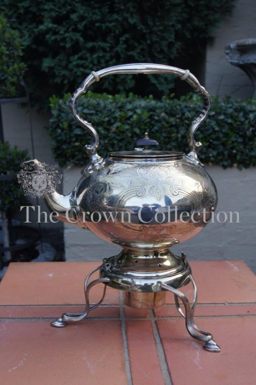 Silver Plated Tea Kettle on Stand
