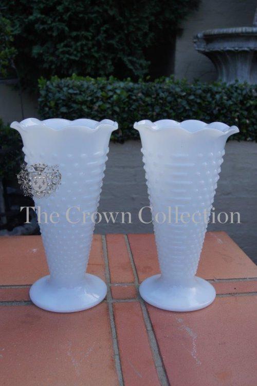 Pair White Glass Vintage Vases