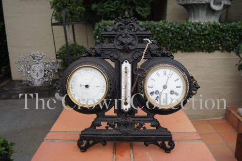 Wrought Iron Barometer & Clock