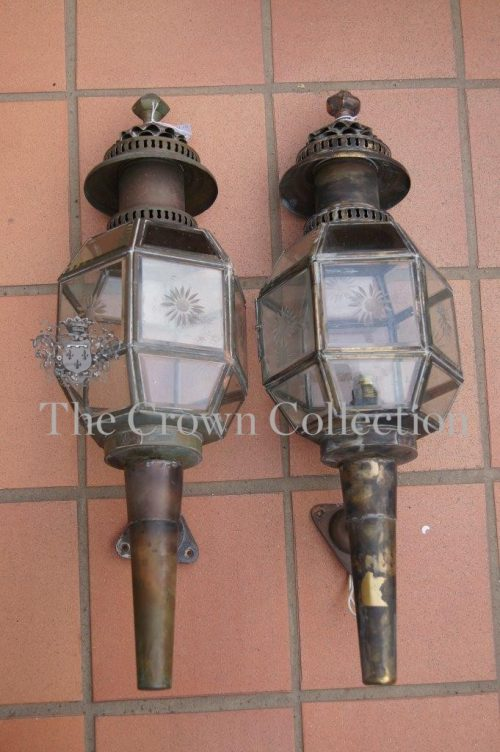 Pair Vintage Copper & Brass Coach Lanterns