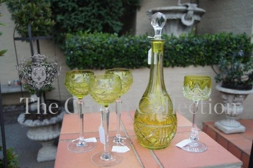 Set of Bohemian Green Cut Cut Glass Decanter