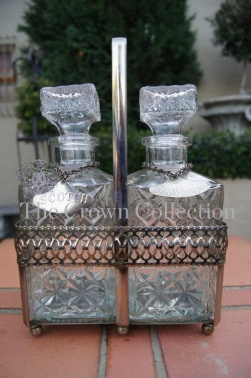 Early to Mid Century Silver Plated Tantalus (2 Decanter Set)
