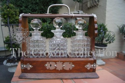 Wooden Tantalus with 3 Decanters
