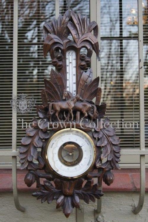 Carved Wooden Barometer