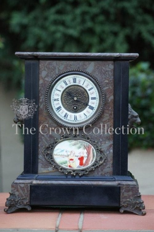 Marble & Slate Mantle Clock with Brass detail and Enamel Plaque