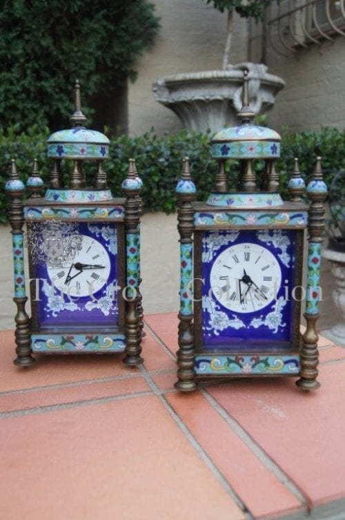 Pair 19th Century French Bronze Champleve Cloisonne Revival Mechanical Carriage Clocks - ND