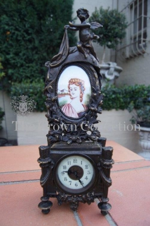 Bronze Cherub Clock with Hand Painted Victorian Tile