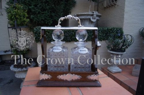 Victorian Oak 2 Bottle Tantalus with Crystal Decanters