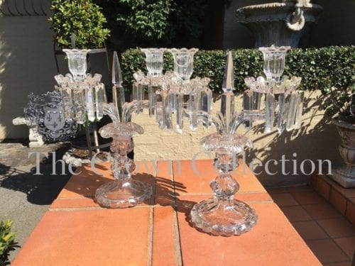 Pair Glass Lustre Candelabras