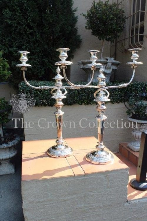 Pair Sheffield Silver Plated Candelabras