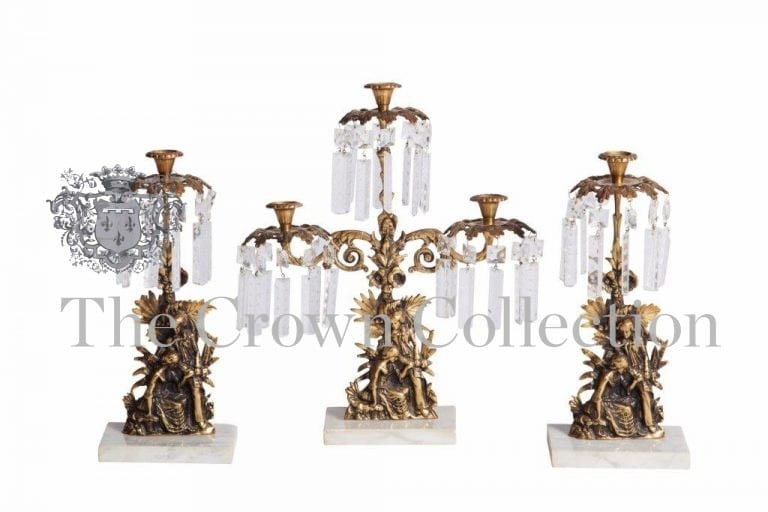 3 Piece Girandole Candelabra Set on Marble Base Prism