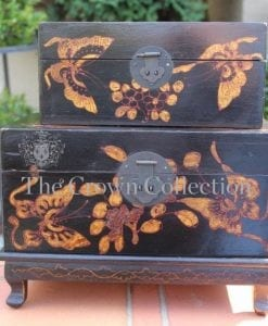 Pair Oriental Boxes with Stand