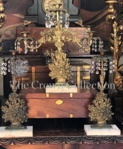 Antique 3 Piece Candelabra Girandole Set Brass on Marble Base