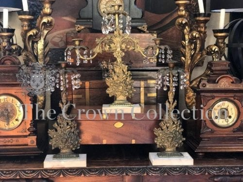 Antique 3 Piece Candelabra Girandole Set Brass on Marble Base