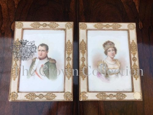 Hand Painted on Porcelain Framed Panels of Napoleon & Josephine in Period Frames