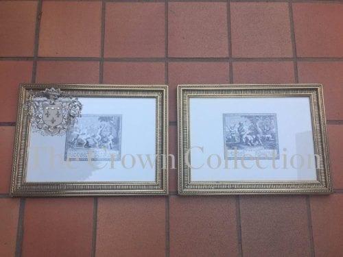 Pair Gold Framed Cherub Graphics