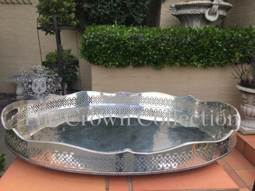 Silver Plated Oval Gallery Tray