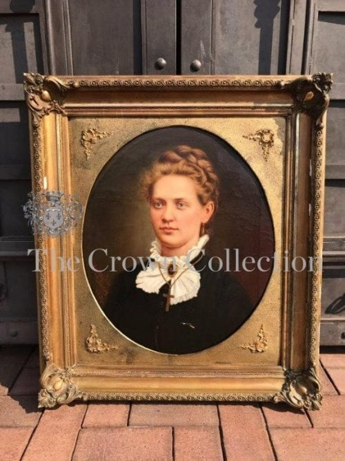Antique Signed Lady Portrait Oil Painting in Frame