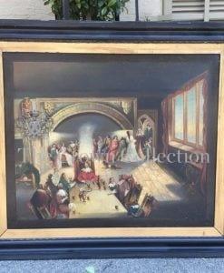 Antique 19th Century Oil Portrait Painting of a Kings Banquet