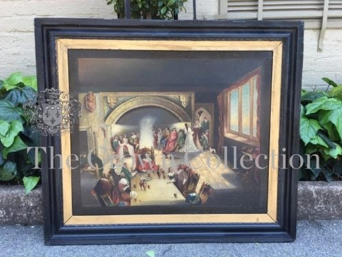 Antique 19th Century Oil Portrait Painting of a Kings Banquet