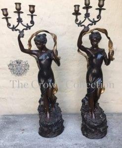 Pair Art Nouveau Lady Figure Candelabra