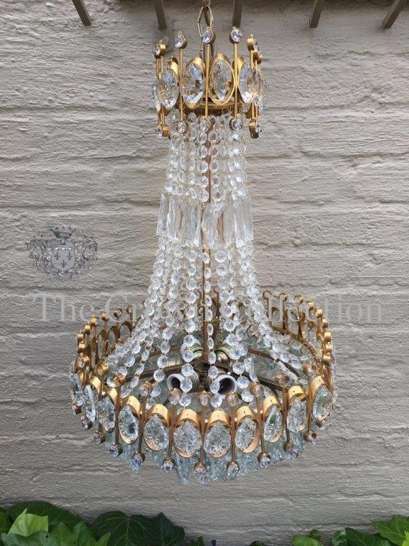Rare large french basket style bohemia crystal chandelier circa rare large french basket style bohemia crystal chandelier mozeypictures Image collections