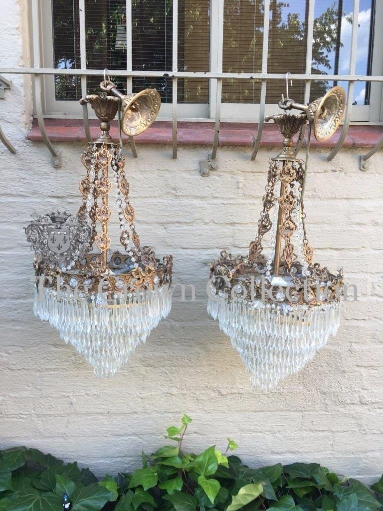 Pair Crystal Chandeliers
