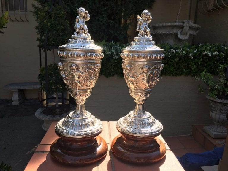 Pair of French Silver Plated Lidded Urns with Brass Liners