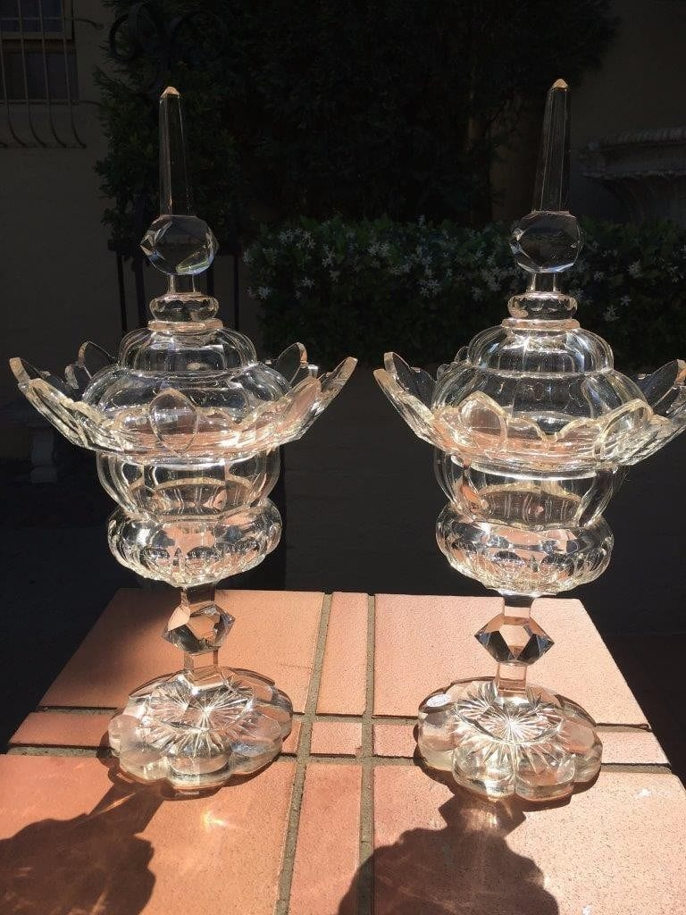 Pair of French 19th Century Crystal Lidded Urns (some chips) - ND